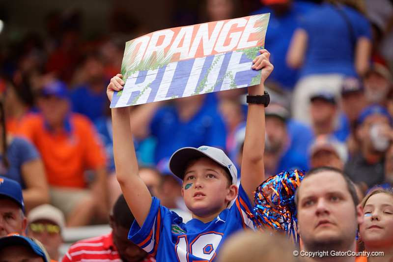 A young Gators fan cheers on as the Gators defeat the Towson Tigers 38-0 at Ben Hill Griffin Stadium in Gainesville, Florida on September 28th, 2019 (Photo by David Bowie/Gatorcountry)