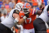 Florida Gators defensive lineman Zachary Carter (17) fights through a block by Towson Tigers offensive lineman Aaron Grzymkowski (74) as the Gators defeat the Towson Tigers 38-0 at Ben Hill Griffin Stadium in Gainesville, Florida on September 28th, 2019 (Photo by David Bowie/Gatorcountry)