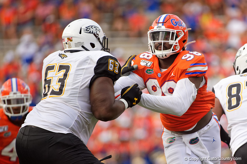 Florida Gators defensive lineman Luke Ancrum (98) as the Gators defeat the Towson Tigers 38-0 at Ben Hill Griffin Stadium in Gainesville, Florida on September 28th, 2019 (Photo by David Bowie/Gatorcountry)