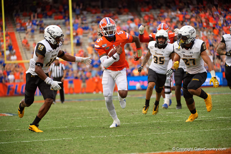 Florida Gators quarterback Emory Jones (5) rushing as the Gators defeat the Towson Tigers 38-0 at Ben Hill Griffin Stadium in Gainesville, Florida on September 28th, 2019 (Photo by David Bowie/Gatorcountry)