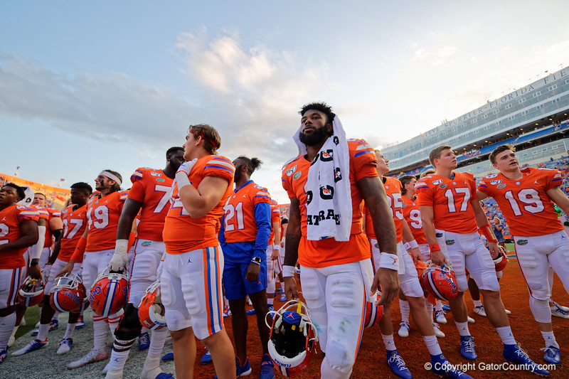 Florida Gators running back Lamical Perine (2) as the Gators defeat the Towson Tigers 38-0 at Ben Hill Griffin Stadium in Gainesville, Florida on September 28th, 2019 (Photo by David Bowie/Gatorcountry)