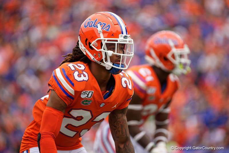 Florida Gators defensive back Jaydon Hill (23) as the Gators defeat the Towson Tigers 38-0 at Ben Hill Griffin Stadium in Gainesville, Florida on September 28th, 2019 (Photo by David Bowie/Gatorcountry)