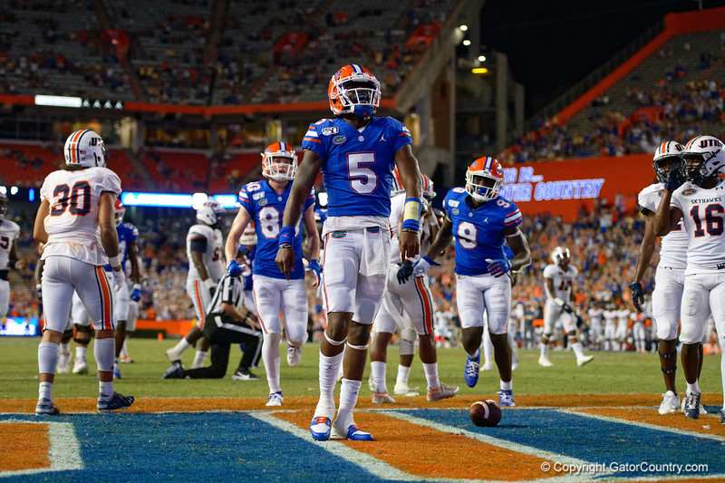 Florida Gators quarterback Emory Jones (5) rushes into the endzone for a touchdown as the Gators faced the Tennessee-Martin Skyhawks at Ben Hill Griffin Stadium in Gainesville, Florida on September 8th, 2019 (Photo by David Bowie/Gatorcountry)
