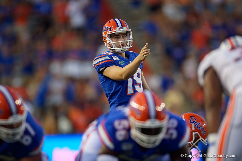 Florida Gators place kicker Evan McPherson (19) kicks in a field goal to give the Gators a 3-0 lead as the Gators faced the Tennessee-Martin Skyhawks at Ben Hill Griffin Stadium in Gainesville, Florida on September 8th, 2019 (Photo by David Bowie/Gatorcountry)