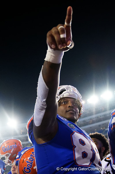 Florida Gators defensive lineman Adam Shuler (88) post-game as the Gators faced the Tennessee-Martin Skyhawks at Ben Hill Griffin Stadium in Gainesville, Florida on September 8th, 2019 (Photo by David Bowie/Gatorcountry)