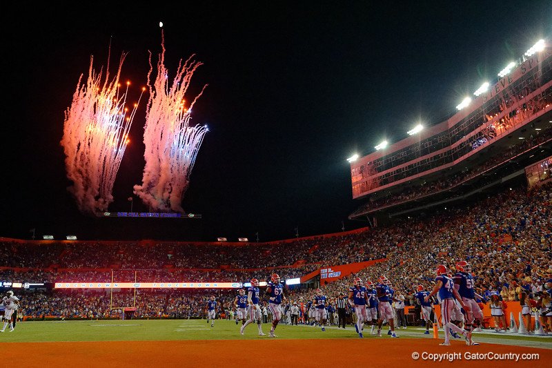 Fireworks shoot off over Ben Hill Griffin Stadium as the Gators faced the Tennessee-Martin Skyhawks at Ben Hill Griffin Stadium in Gainesville, Florida on September 8th, 2019 (Photo by David Bowie/Gatorcountry)