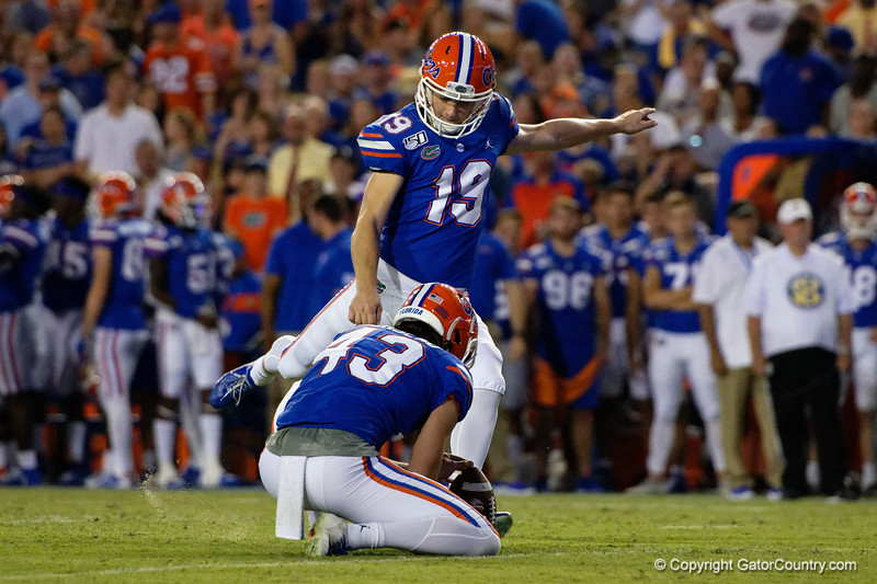 Florida Gators place kicker Evan McPherson (19) as the Gators faced the Tennessee-Martin Skyhawks at Ben Hill Griffin Stadium in Gainesville, Florida on September 8th, 2019 (Photo by David Bowie/Gatorcountry)