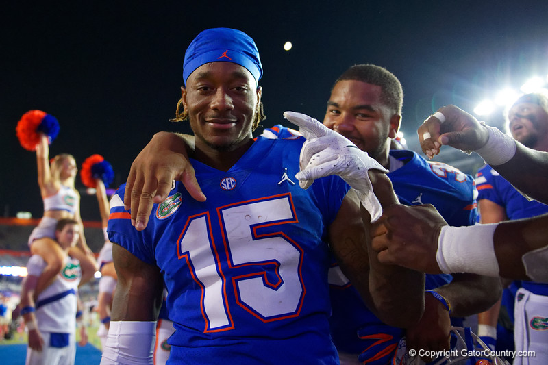 Florida Gators wide receiver Jacob Copeland (15) and Florida Gators linebacker David Reese II (33) post-game as the Gators faced the Tennessee-Martin Skyhawks at Ben Hill Griffin Stadium in Gainesville, Florida on September 8th, 2019 (Photo by David Bowie/Gatorcountry)