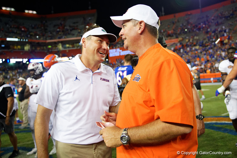 Florida Gators head coach Dan Mullen and Tennessee Martin Skyhawks head coach Jason Simpson post-game as the Gators faced the Tennessee-Martin Skyhawks at Ben Hill Griffin Stadium in Gainesville, Florida on September 8th, 2019 (Photo by David Bowie/Gatorcountry)