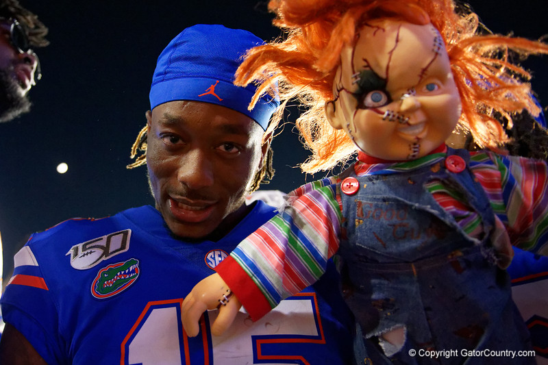 Florida Gators wide receiver Jacob Copeland (15) post-game as the Gators faced the Tennessee-Martin Skyhawks at Ben Hill Griffin Stadium in Gainesville, Florida on September 8th, 2019 (Photo by David Bowie/Gatorcountry)