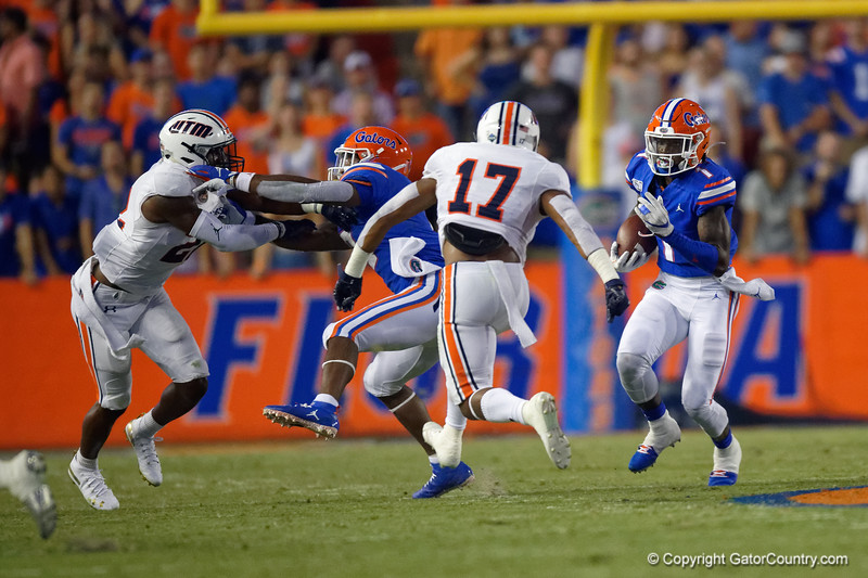 Florida Gators wide receiver Kadarius Toney (1) as the Gators faced the Tennessee-Martin Skyhawks at Ben Hill Griffin Stadium in Gainesville, Florida on September 8th, 2019 (Photo by David Bowie/Gatorcountry)