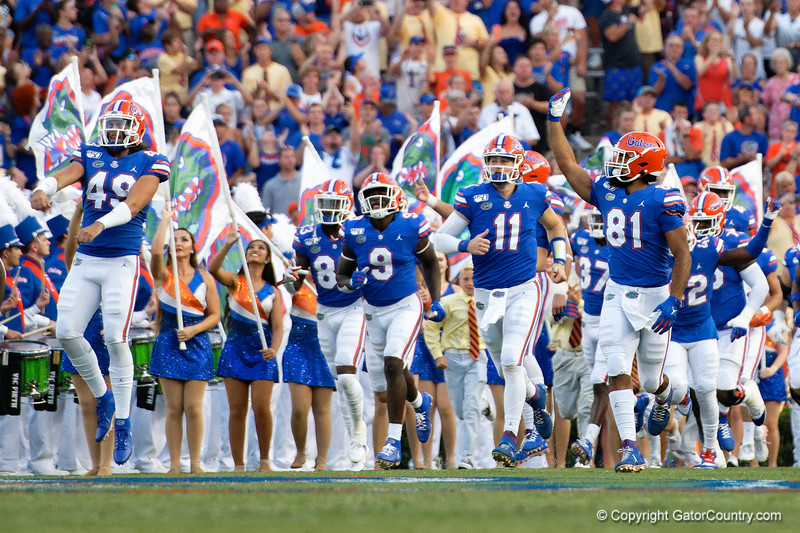Florida Gators quarterback Kyle Trask (11),Florida Gators tight end Dante Lang (81),Florida Gators long snapper Jacob Tilghman (49) as the Gators faced the Tennessee-Martin Skyhawks at Ben Hill Griffin Stadium in Gainesville, Florida on September 8th, 2019 (Photo by David Bowie/Gatorcountry)