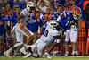 Florida Gators wide receiver Jacob Copeland (15) is tackled by Tennessee Martin Skyhawks safety Devan Hollins (9) as the Gators faced the Tennessee-Martin Skyhawks at Ben Hill Griffin Stadium in Gainesville, Florida on September 8th, 2019 (Photo by David Bowie/Gatorcountry)