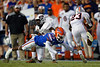 Florida Gators defensive back Chester Kimbrough (25) tackles Tennessee Martin Skyhawks running back Peyton Logan (23) as the Gators faced the Tennessee-Martin Skyhawks at Ben Hill Griffin Stadium in Gainesville, Florida on September 8th, 2019 (Photo by David Bowie/Gatorcountry)