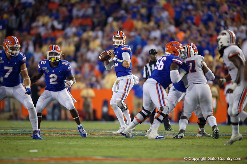 Florida Gators quarterback Feleipe Franks (13) as the Gators faced the Tennessee-Martin Skyhawks at Ben Hill Griffin Stadium in Gainesville, Florida on September 8th, 2019 (Photo by David Bowie/Gatorcountry)