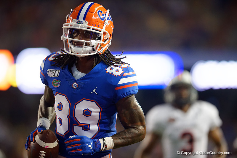 Florida Gators wide receiver Tyrie Cleveland (89) catches a pass and runs into the endzone to make the score 17-0 as the Gators faced the Tennessee-Martin Skyhawks at Ben Hill Griffin Stadium in Gainesville, Florida on September 8th, 2019 (Photo by David Bowie/Gatorcountry)