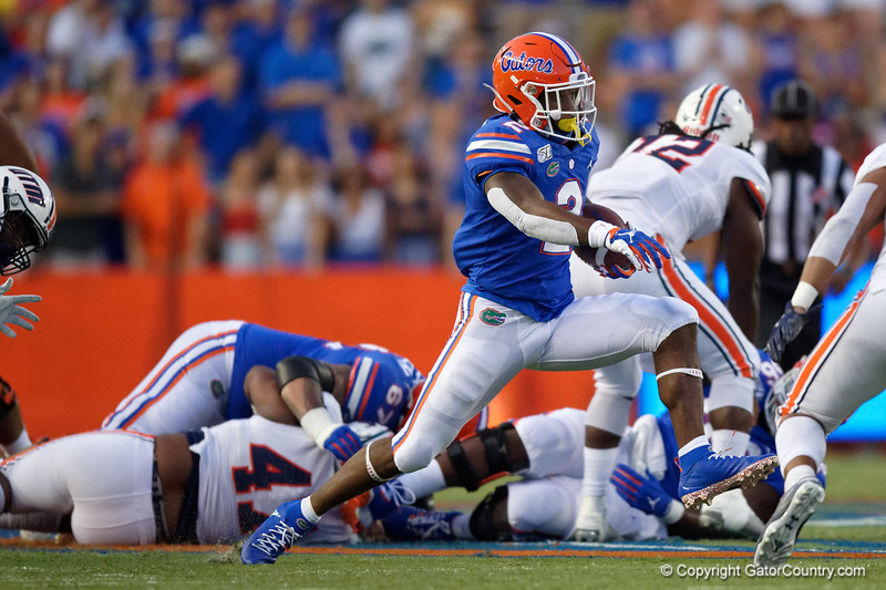Florida Gators running back Lamical Perine (2) as the Gators faced the Tennessee-Martin Skyhawks at Ben Hill Griffin Stadium in Gainesville, Florida on September 8th, 2019 (Photo by David Bowie/Gatorcountry)