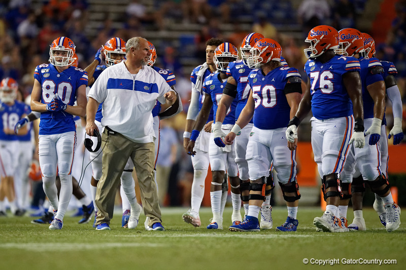 Florida Gators offensive line coach John Hevesy as the Gators faced the Tennessee-Martin Skyhawks at Ben Hill Griffin Stadium in Gainesville, Florida on September 8th, 2019 (Photo by David Bowie/Gatorcountry)