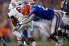 Florida Gators running back Dameon Pierce (27) tackles Tennessee Martin Skyhawks wide receiver Terry Williams (6) on a kick return as the Gators faced the Tennessee-Martin Skyhawks at Ben Hill Griffin Stadium in Gainesville, Florida on September 8th, 2019 (Photo by David Bowie/Gatorcountry)