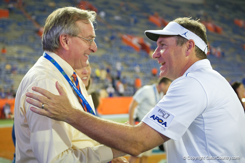 Florida Gators head coach Dan Mullen and University of Florida President Kent Fuchs post-game as the Gators faced the Tennessee-Martin Skyhawks at Ben Hill Griffin Stadium in Gainesville, Florida on September 8th, 2019 (Photo by David Bowie/Gatorcountry)
