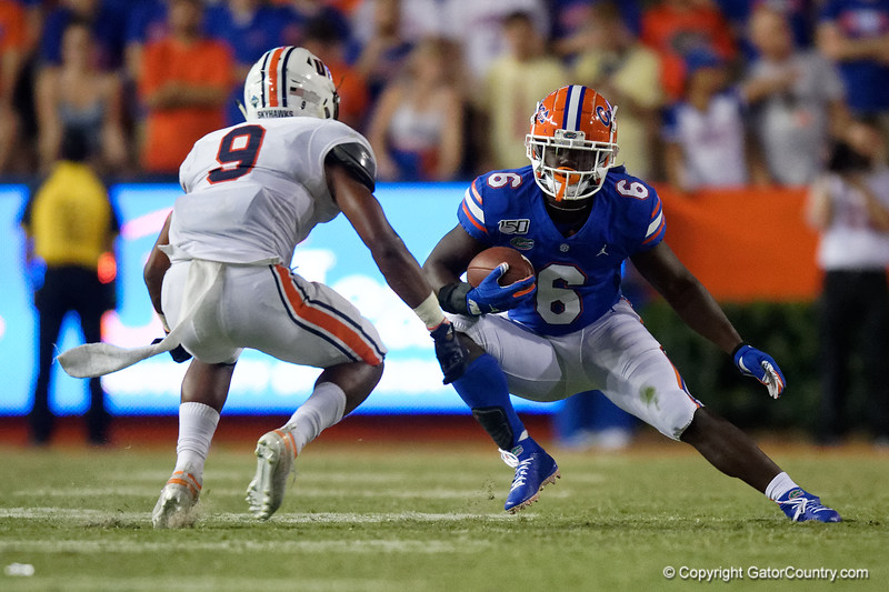 Florida Gators running back Nay'Quan Wright (6) as the Gators faced the Tennessee-Martin Skyhawks at Ben Hill Griffin Stadium in Gainesville, Florida on September 8th, 2019 (Photo by David Bowie/Gatorcountry)