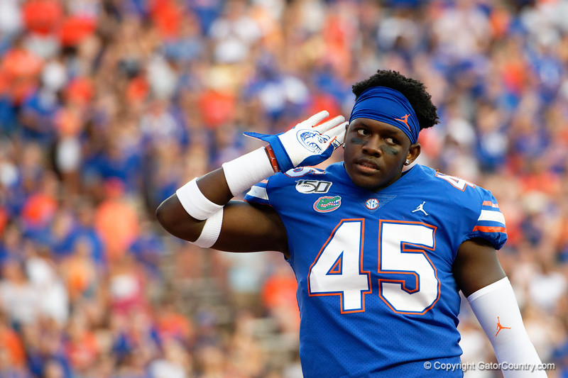 Florida Gators tight end Clifford Taylor IV (45) as the Gators faced the Tennessee-Martin Skyhawks at Ben Hill Griffin Stadium in Gainesville, Florida on September 8th, 2019 (Photo by David Bowie/Gatorcountry)