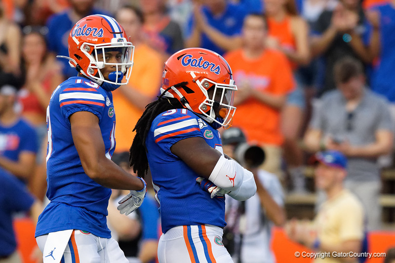 Florida Gators defensive back Donovan Stiner (13) and Florida Gators defensive back Shawn Davis (31) as the Gators faced the Tennessee-Martin Skyhawks at Ben Hill Griffin Stadium in Gainesville, Florida on September 8th, 2019 (Photo by David Bowie/Gatorcountry)