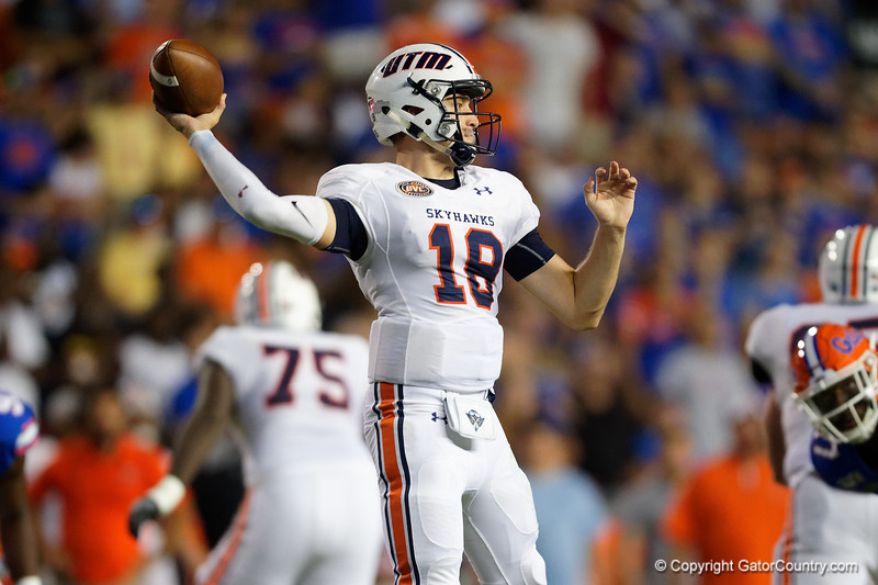 Tennessee Martin Skyhawks quarterback John Bachus III (18) as the Gators faced the Tennessee-Martin Skyhawks at Ben Hill Griffin Stadium in Gainesville, Florida on September 8th, 2019 (Photo by David Bowie/Gatorcountry)