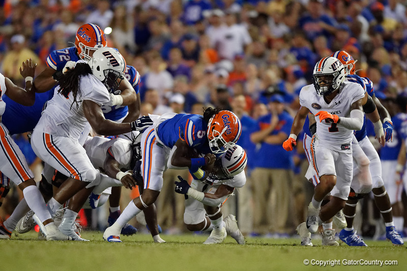 Florida Gators quarterback Emory Jones (5) rushes for a first down as the Gators faced the Tennessee-Martin Skyhawks at Ben Hill Griffin Stadium in Gainesville, Florida on September 8th, 2019 (Photo by David Bowie/Gatorcountry)
