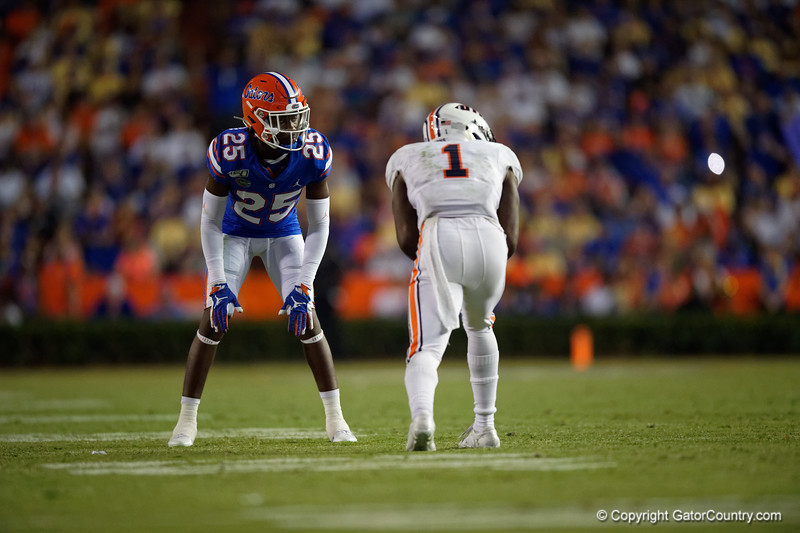 Florida Gators defensive back Chester Kimbrough (25) as the Gators faced the Tennessee-Martin Skyhawks at Ben Hill Griffin Stadium in Gainesville, Florida on September 8th, 2019 (Photo by David Bowie/Gatorcountry)