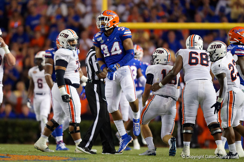 Florida Gators linebacker Lacedrick Brunson (34) as the Gators faced the Tennessee-Martin Skyhawks at Ben Hill Griffin Stadium in Gainesville, Florida on September 8th, 2019 (Photo by David Bowie/Gatorcountry)