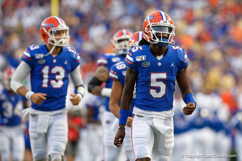 Florida Gators quarterback Emory Jones (5) runs onto the field as the Gators faced the Tennessee-Martin Skyhawks at Ben Hill Griffin Stadium in Gainesville, Florida on September 8th, 2019 (Photo by David Bowie/Gatorcountry)