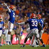 Florida Gators defensive back Jaydon Hill (23) celebrating as the Gators faced the Tennessee-Martin Skyhawks at Ben Hill Griffin Stadium in Gainesville, Florida on September 8th, 2019 (Photo by David Bowie/Gatorcountry)