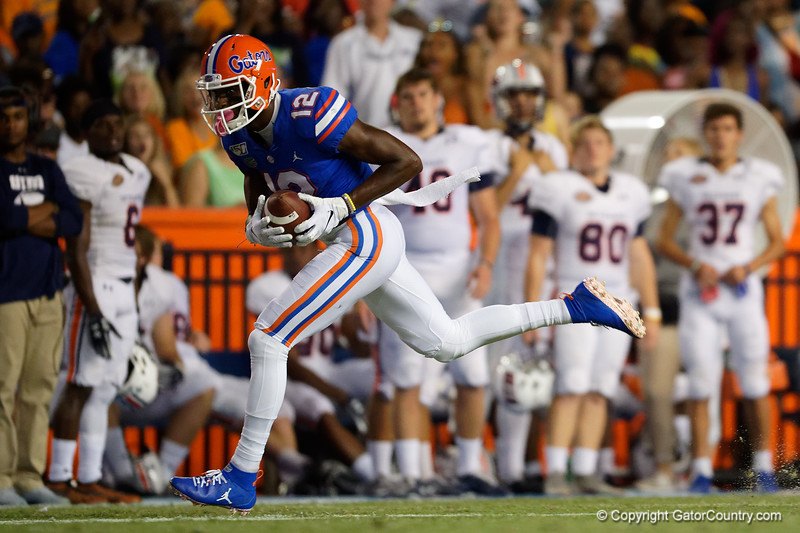Florida Gators wide receiver Van Jefferson (12) catches a pass and runs into the endzone to give the Gators a 10-0 lead as the Gators faced the Tennessee-Martin Skyhawks at Ben Hill Griffin Stadium in Gainesville, Florida on September 8th, 2019 (Photo by David Bowie/Gatorcountry)