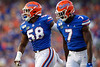 Florida Gators linebacker Jonathan Greenard (58) and Florida Gators linebacker Jeremiah Moon (7) as the Gators faced the Tennessee-Martin Skyhawks at Ben Hill Griffin Stadium in Gainesville, Florida on September 8th, 2019 (Photo by David Bowie/Gatorcountry)