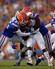 Florida Gators defensive back Chester Kimbrough (25) tackles Tennessee Martin Skyhawks running back Jaimiee Bowe (5) as the Gators faced the Tennessee-Martin Skyhawks at Ben Hill Griffin Stadium in Gainesville, Florida on September 8th, 2019 (Photo by David Bowie/Gatorcountry)