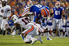 Florida Gators wide receiver Trevon Grimes (8) is tackled by Tennessee Martin Skyhawks safety JaQuez Akins (17) as the Gators faced the Tennessee-Martin Skyhawks at Ben Hill Griffin Stadium in Gainesville, Florida on September 8th, 2019 (Photo by David Bowie/Gatorcountry)