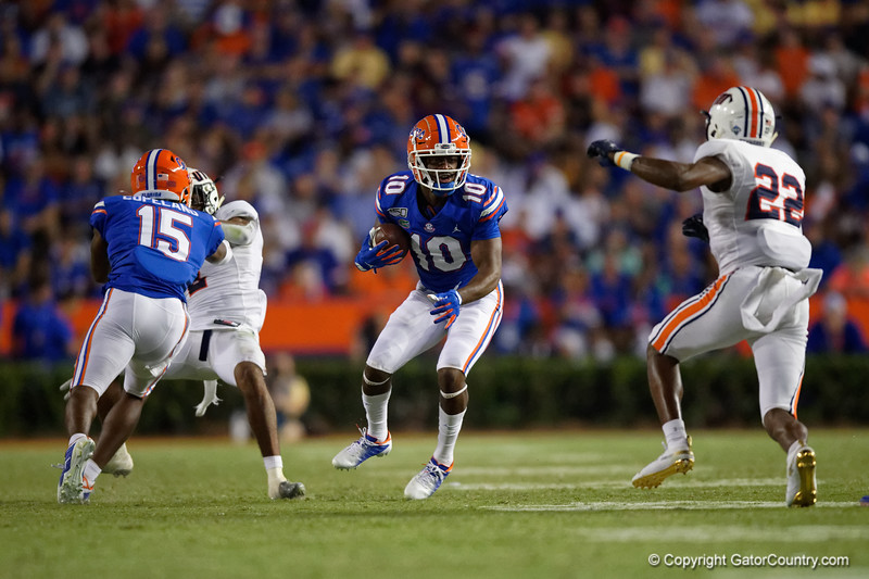 Florida Gators wide receiver Josh Hammond (10) as the Gators faced the Tennessee-Martin Skyhawks at Ben Hill Griffin Stadium in Gainesville, Florida on September 8th, 2019 (Photo by David Bowie/Gatorcountry)