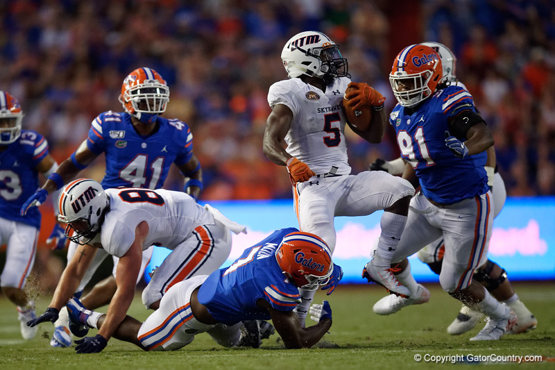 Florida Gators linebacker Jeremiah Moon (7) tackling Tennessee Martin Skyhawks running back Jaimiee Bowe (5) as the Gators faced the Tennessee-Martin Skyhawks at Ben Hill Griffin Stadium in Gainesville, Florida on September 8th, 2019 (Photo by David Bowie/Gatorcountry)