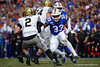 Florida Gators linebacker David Reese II (33) sprints toward Vanderbilt Commodores quarterback Deuce Wallace (2) as the Gators faced and defeat the Vanderbilt Commodores 56-0 at Ben Hill Griffin Stadium in Gainesville, Florida on November 9th, 2019 (Photo by David Bowie/Gatorcountry)
