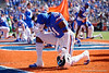 Florida Gators linebacker James Houston IV (41) takes a knee in the endzone prior to kickoff as the Gators faced and defeat the Vanderbilt Commodores 56-0 at Ben Hill Griffin Stadium in Gainesville, Florida on November 9th, 2019 (Photo by David Bowie/Gatorcountry)