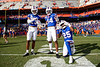 Florida Gators defensive back Jaydon Hill (23),Florida Gators defensive back Quincy Lenton (14) and Florida Gators defensive back Chester Kimbrough (25) and the Gators celebrate after defeating the Vanderbilt Commodores 56-0 at Ben Hill Griffin Stadium in Gainesville, Florida on November 9th, 2019 (Photo by David Bowie/Gatorcountry