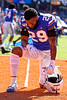 Florida Gators defensive back Jeawon Taylor (29) kneels in the endzone prior to kickoff as the Gators faced and defeat the Vanderbilt Commodores 56-0 at Ben Hill Griffin Stadium in Gainesville, Florida on November 9th, 2019 (Photo by David Bowie/Gatorcountry)