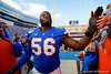 Florida Gators defensive lineman Tedarrell Slaton (56) and the Gators celebrate after defeating the Vanderbilt Commodores 56-0 at Ben Hill Griffin Stadium in Gainesville, Florida on November 9th, 2019 (Photo by David Bowie/Gatorcountry