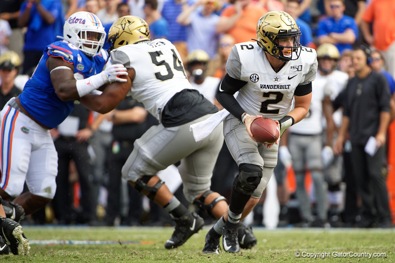 Vanderbilt Commodores quarterback Deuce Wallace (2) turns to hand off the ball as the Gators defeat the Vanderbilt Commodores 56-0 at Ben Hill Griffin Stadium in Gainesville, Florida on November 9th, 2019 (Photo by David Bowie/Gatorcountry)