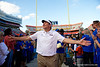 Florida Gators head coach Dan Mullen and the Gators celebrate after defeating the Vanderbilt Commodores 56-0 at Ben Hill Griffin Stadium in Gainesville, Florida on November 9th, 2019 (Photo by David Bowie/Gatorcountry