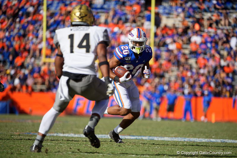 Florida Gators running back Malik Davis (20) rushing as the Gators faced and defeat the Vanderbilt Commodores 56-0 at Ben Hill Griffin Stadium in Gainesville, Florida on November 9th, 2019 (Photo by David Bowie/Gatorcountry)
