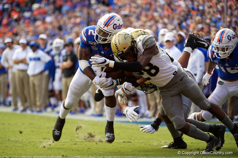 Florida Gators running back Lamical Perine (2) rushing as the Gators defeat the Vanderbilt Commodores 56-0 at Ben Hill Griffin Stadium in Gainesville, Florida on November 9th, 2019 (Photo by David Bowie/Gatorcountry)