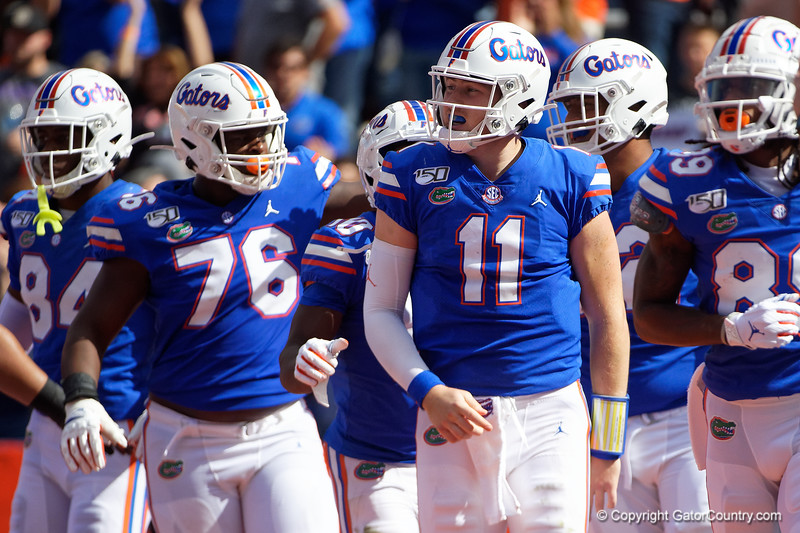 Florida Gators quarterback Kyle Trask (11) celebrates after rushing for a touchdown as the Gators defeat the Vanderbilt Commodores 56-0 at Ben Hill Griffin Stadium in Gainesville, Florida on November 9th, 2019 (Photo by David Bowie/Gatorcountry)