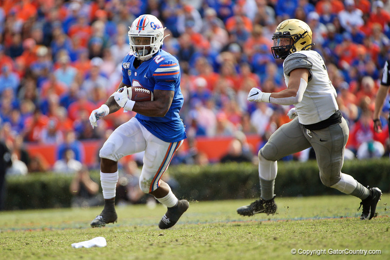 Florida Gators running back Lamical Perine (2) rushing as the Gators faced and defeat the Vanderbilt Commodores 56-0 at Ben Hill Griffin Stadium in Gainesville, Florida on November 9th, 2019 (Photo by David Bowie/Gatorcountry)